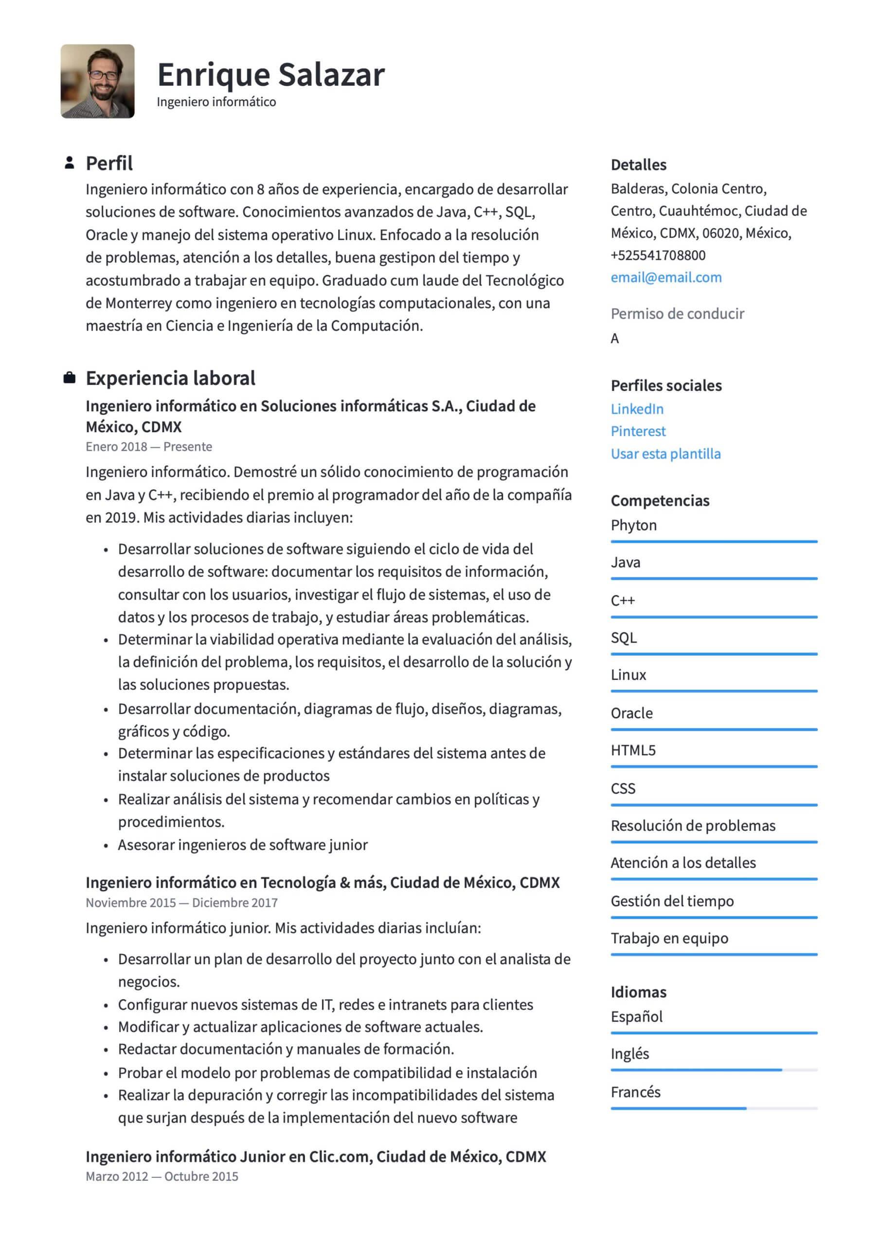 Currículum Ingeniero informático