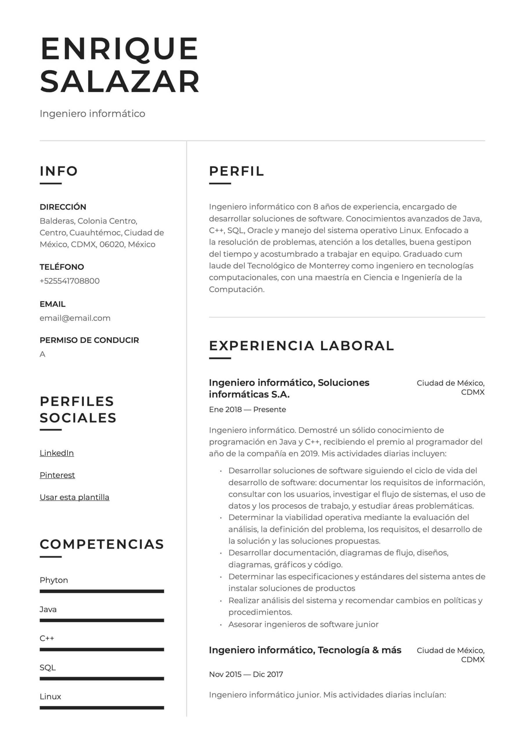 Ejemplo de CV Ingeniero informático