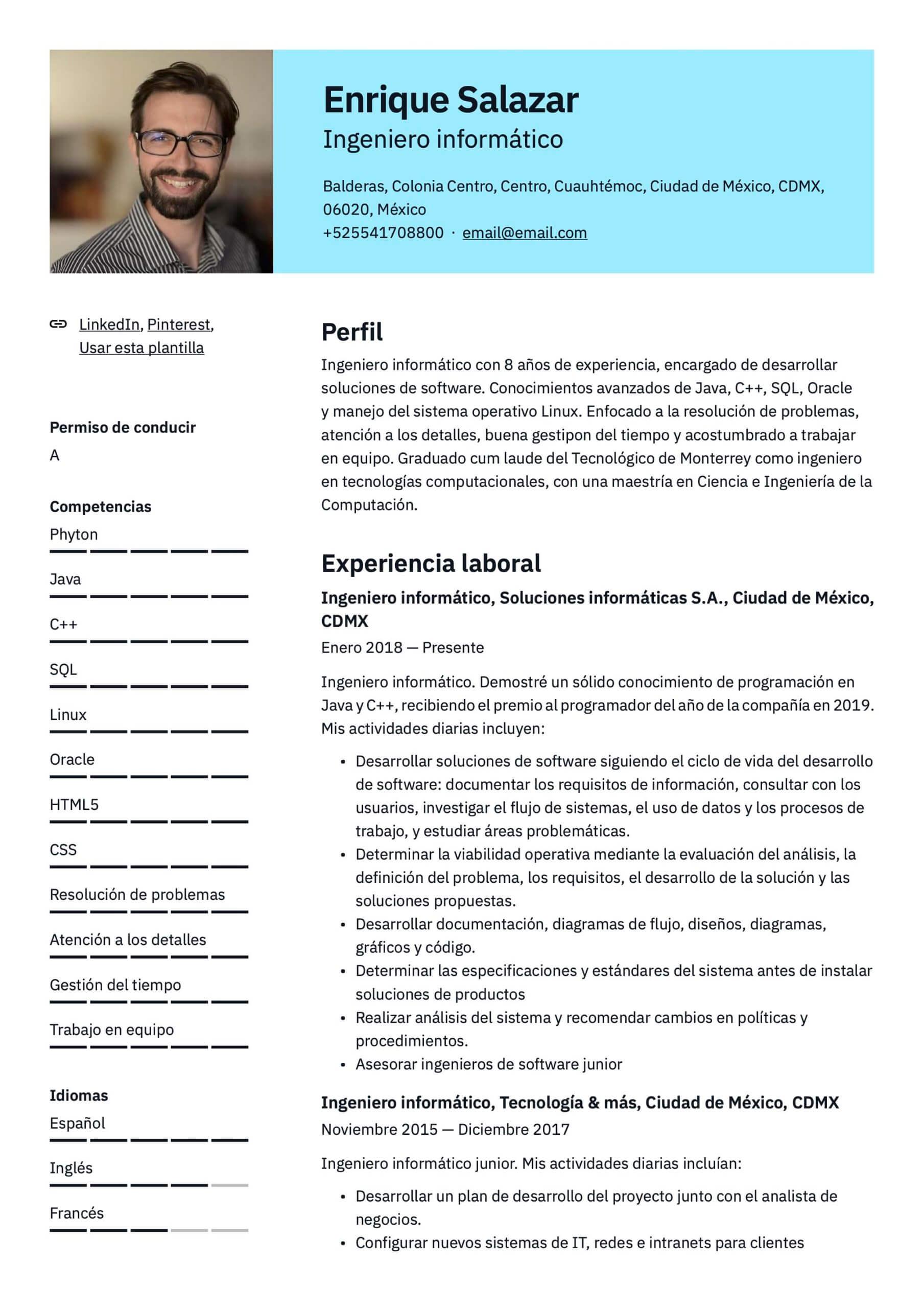 Plantilla de CV Ingeniero informático