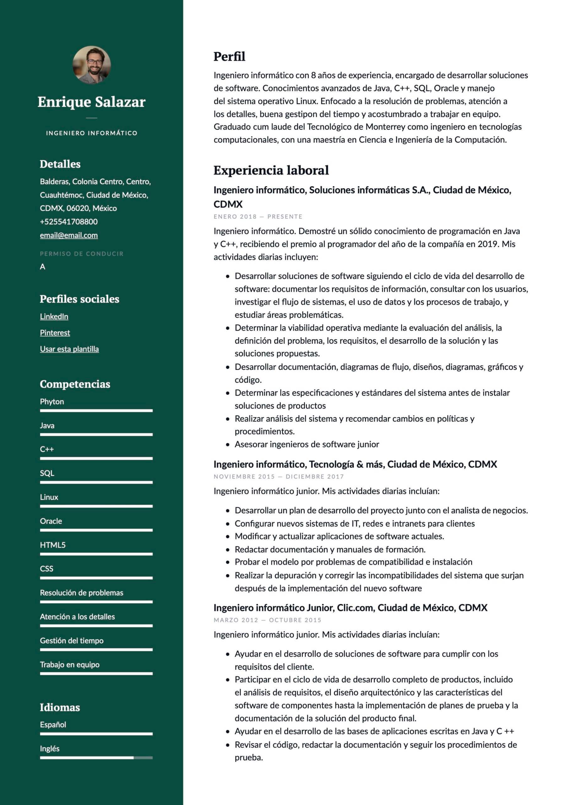 Ejemplo de CV Ingeniero en sistemas