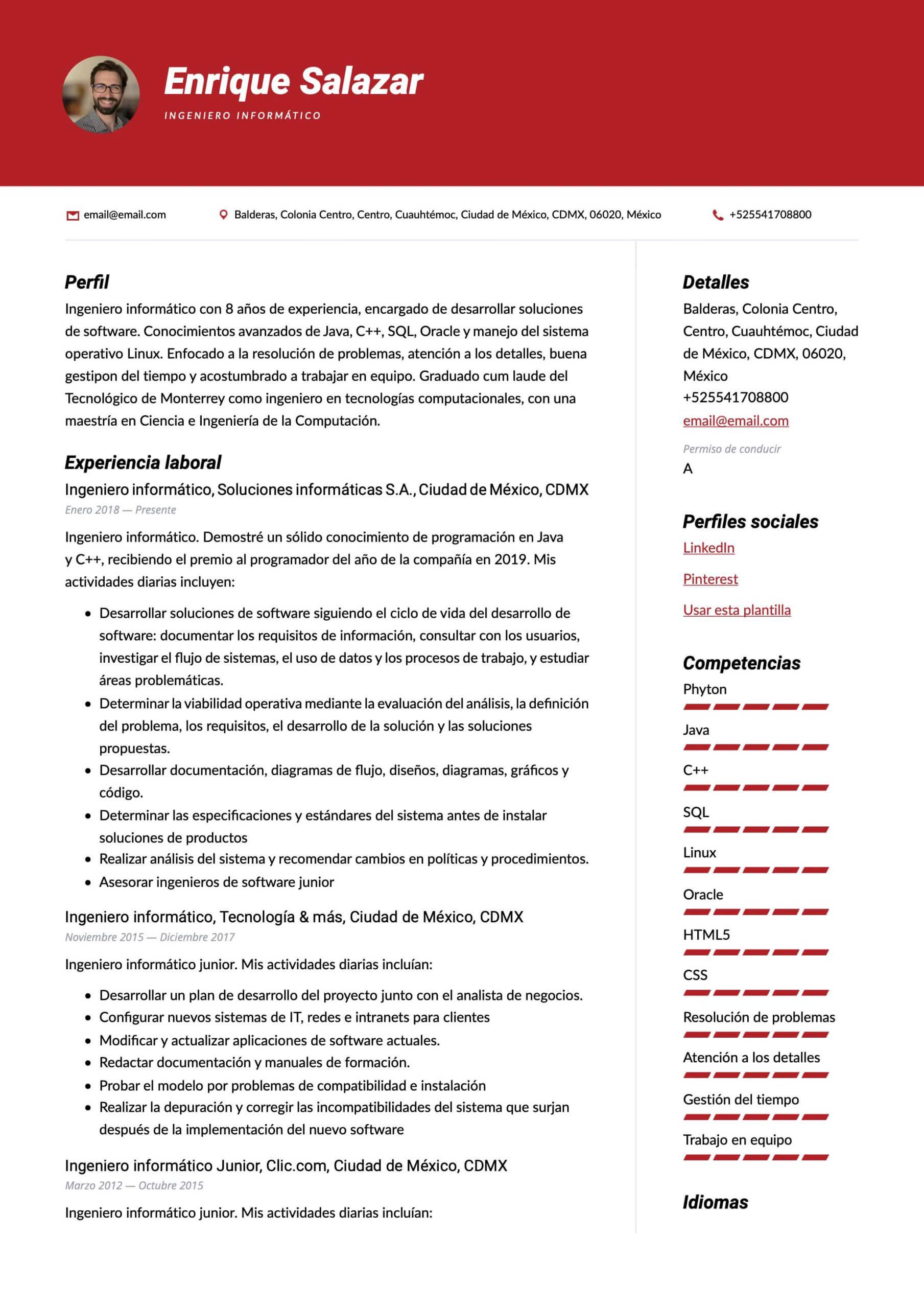 Plantilla de CV Ingeniero en sistemas