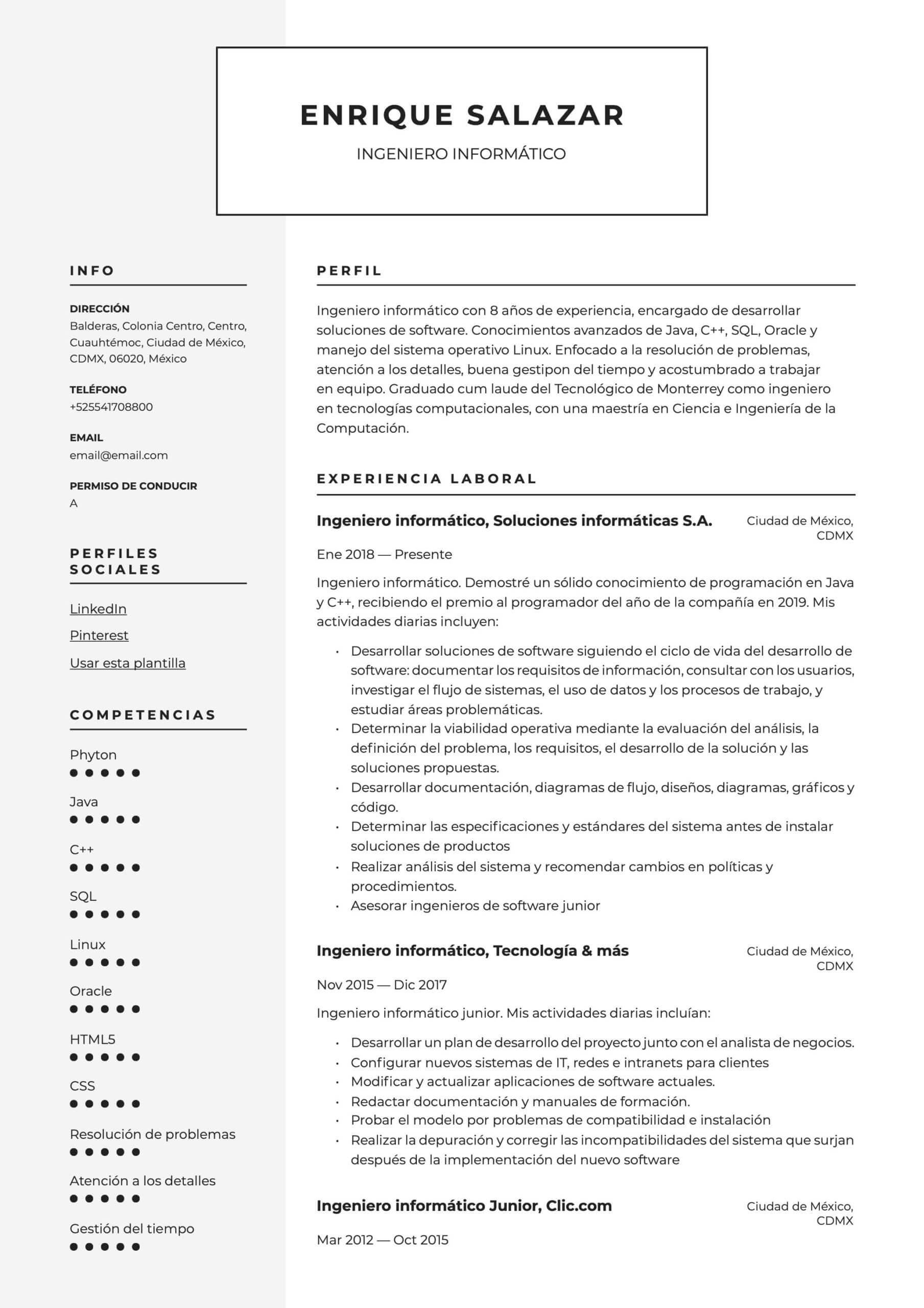 Modelo de CV Ingeniero en sistemas