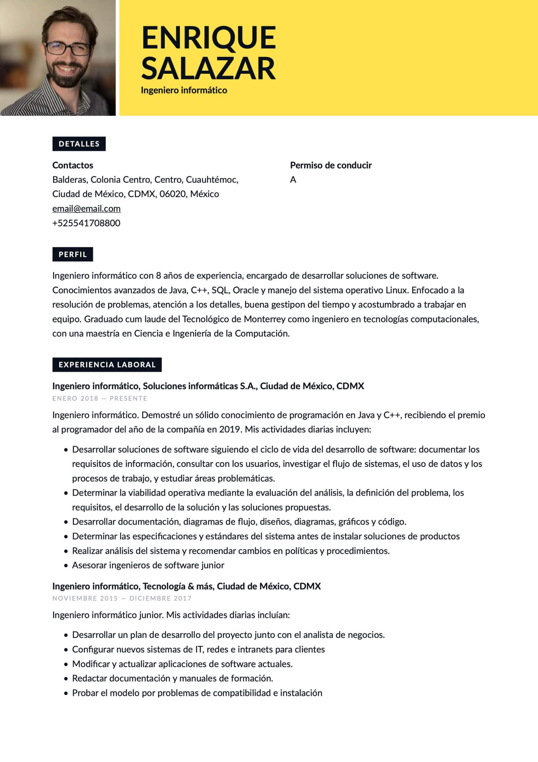 Currículum Ingeniero de software