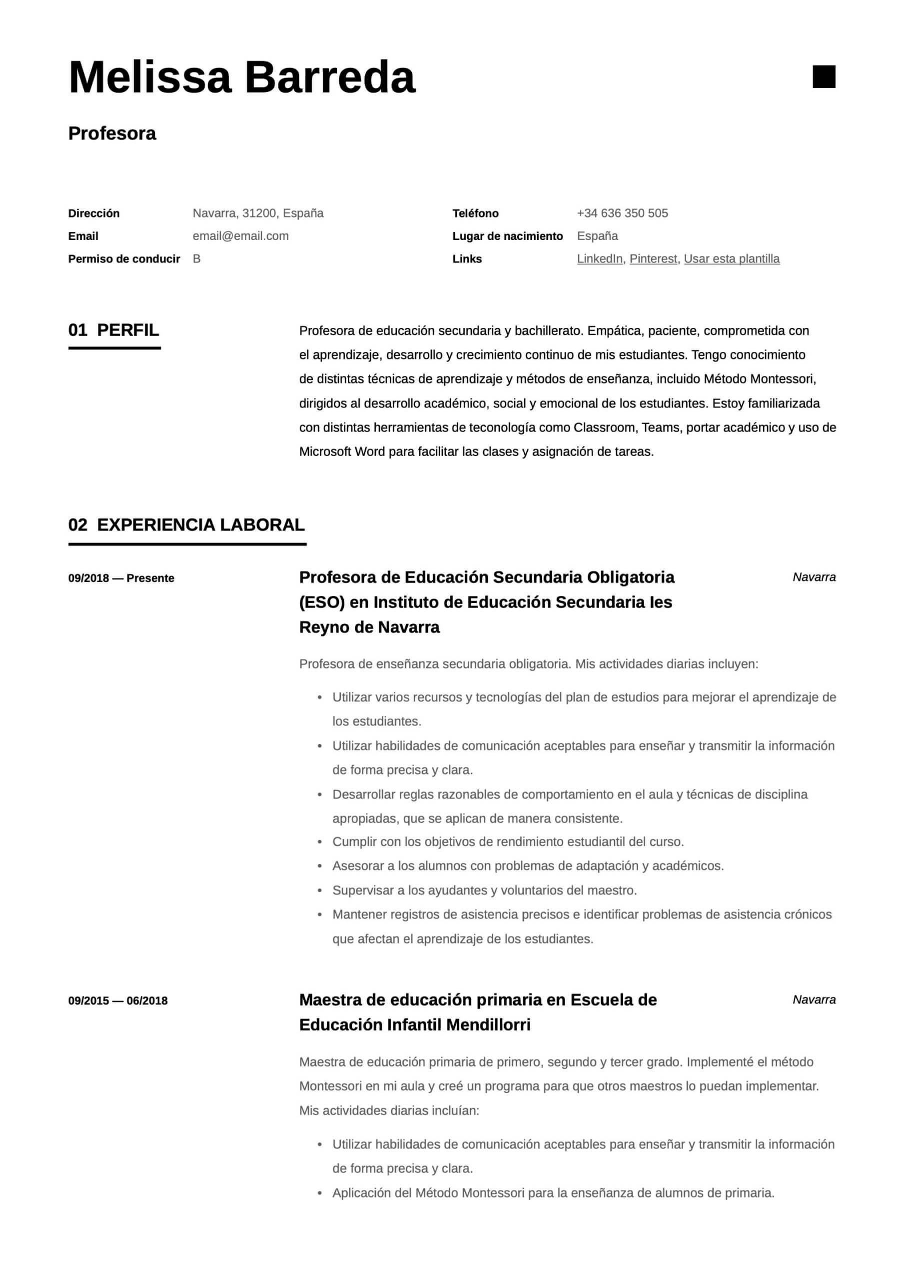 Plantilla de CV para profesor