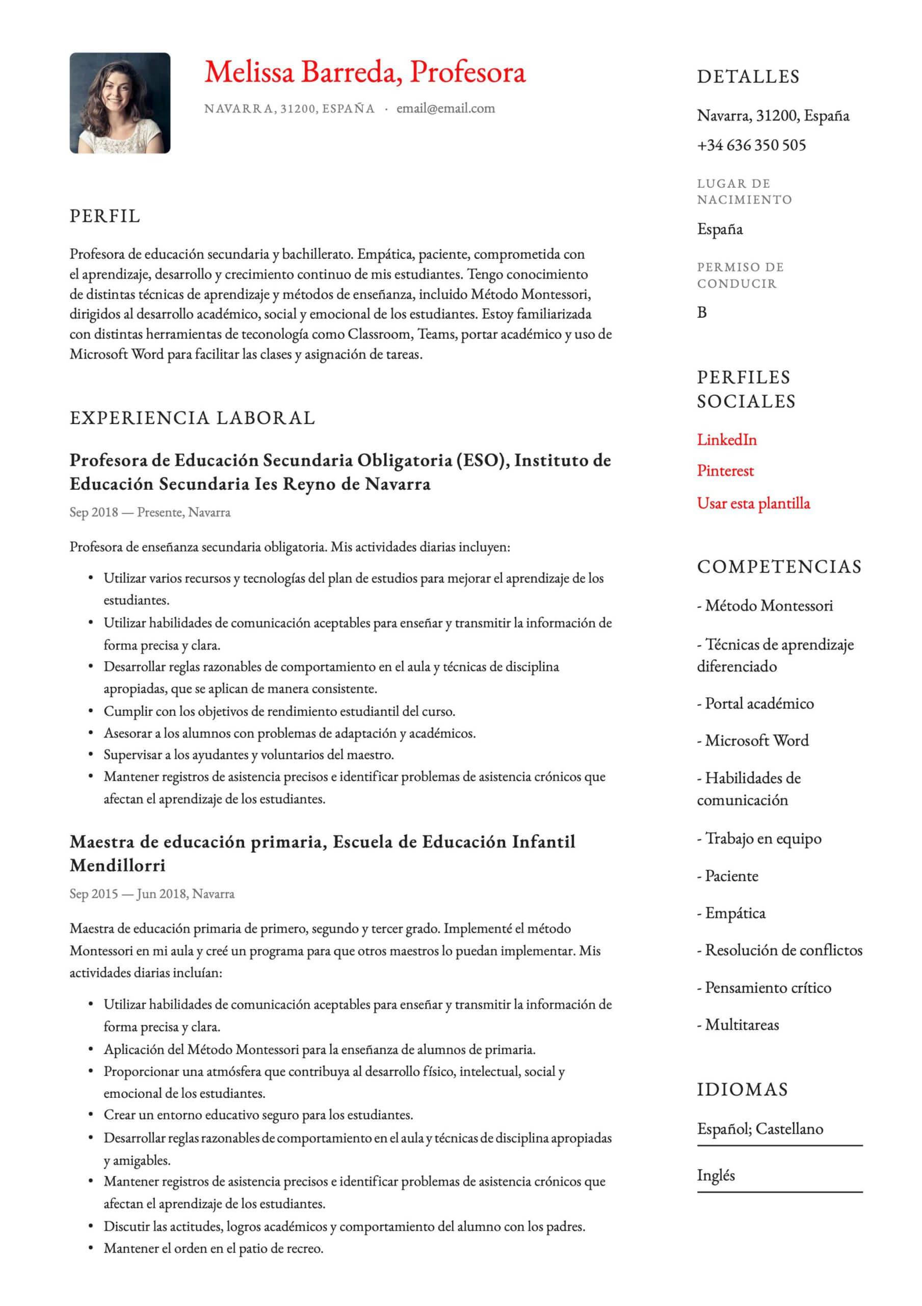 Currículum para profesor