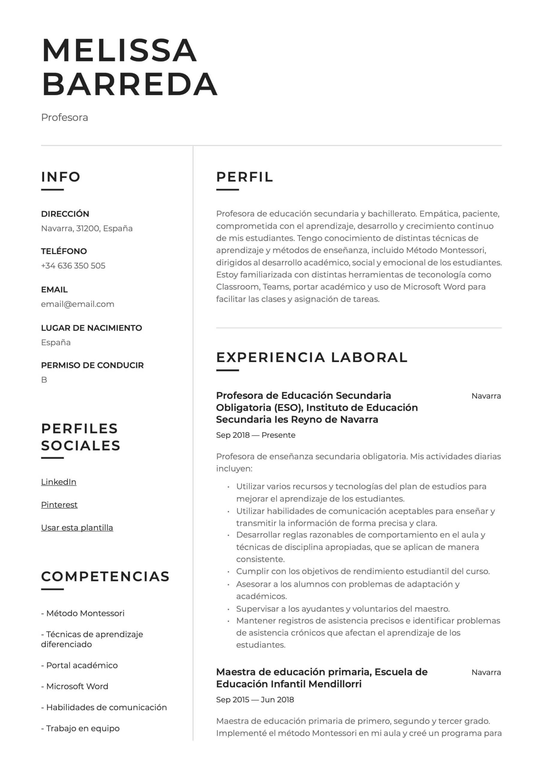 Ejemplo de CV para profesor