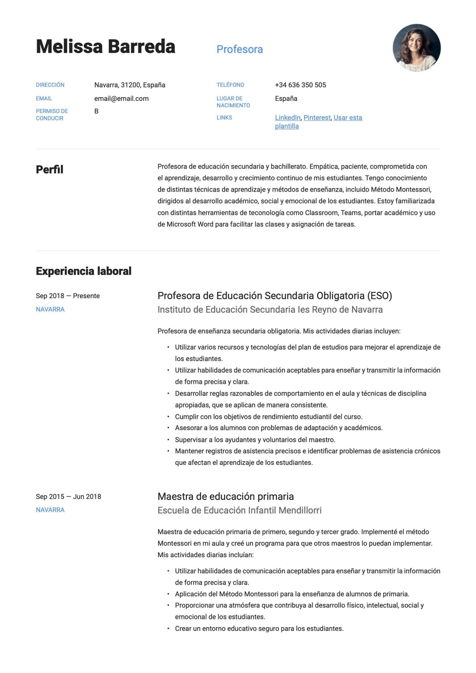 Modelo de CV para profesor