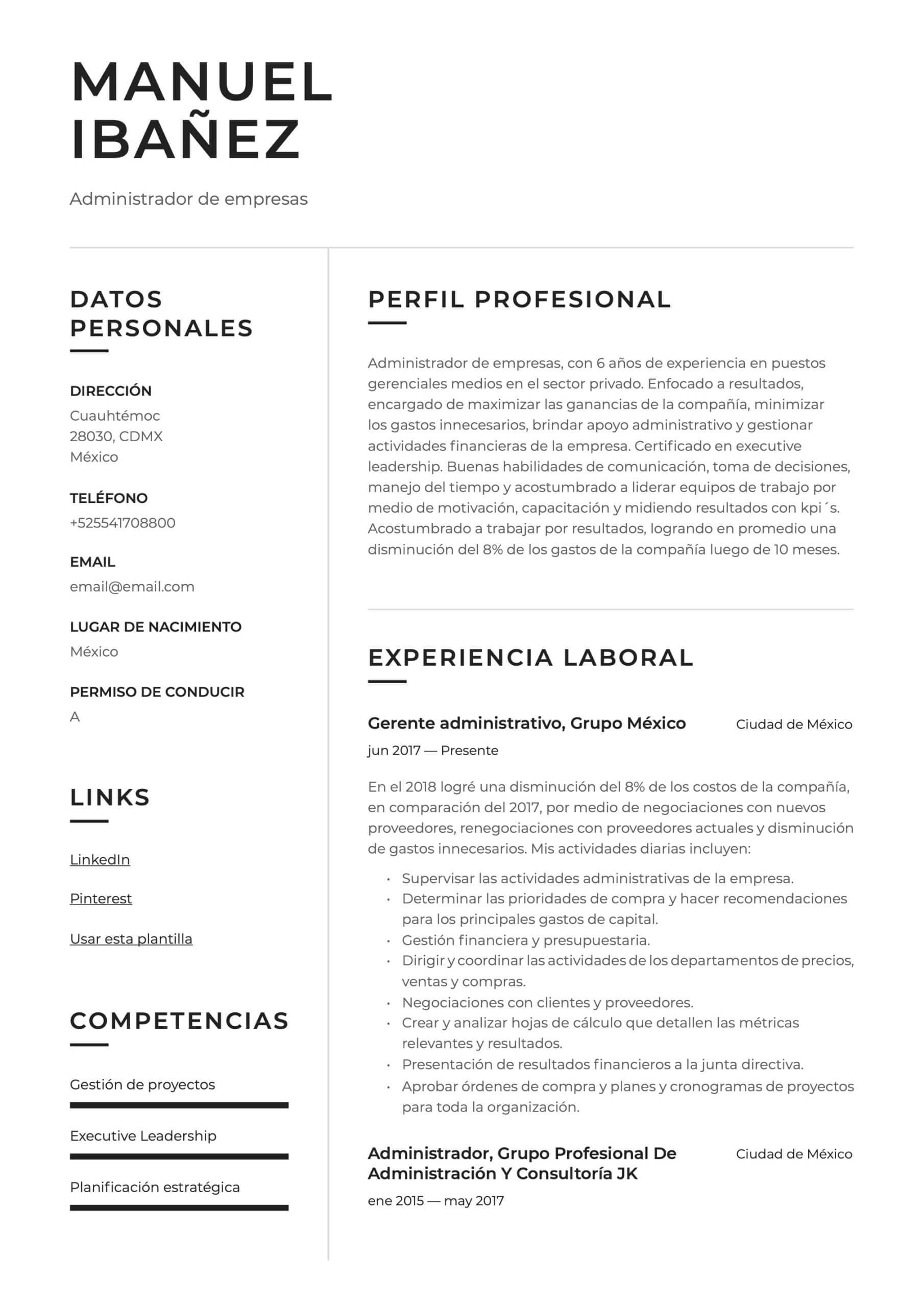 Ejemplo de CV para Administrador de empresas