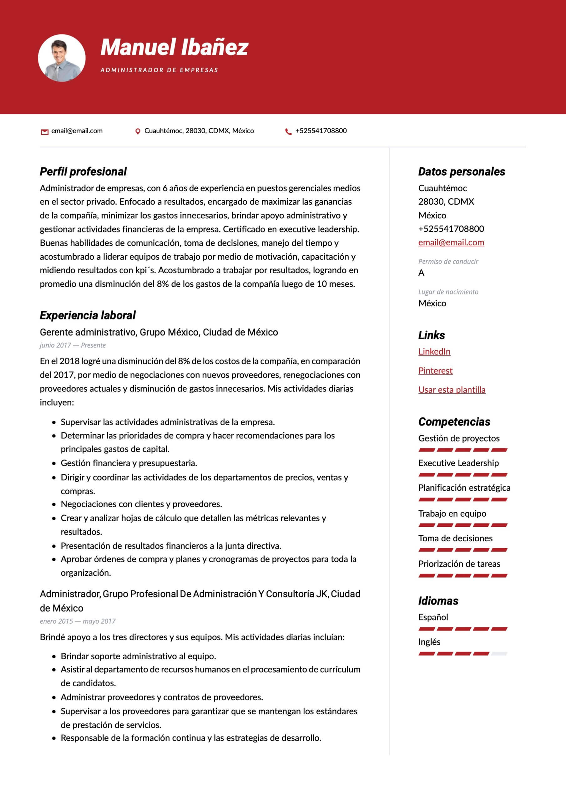 Modelo de CV para Administrador de empresas