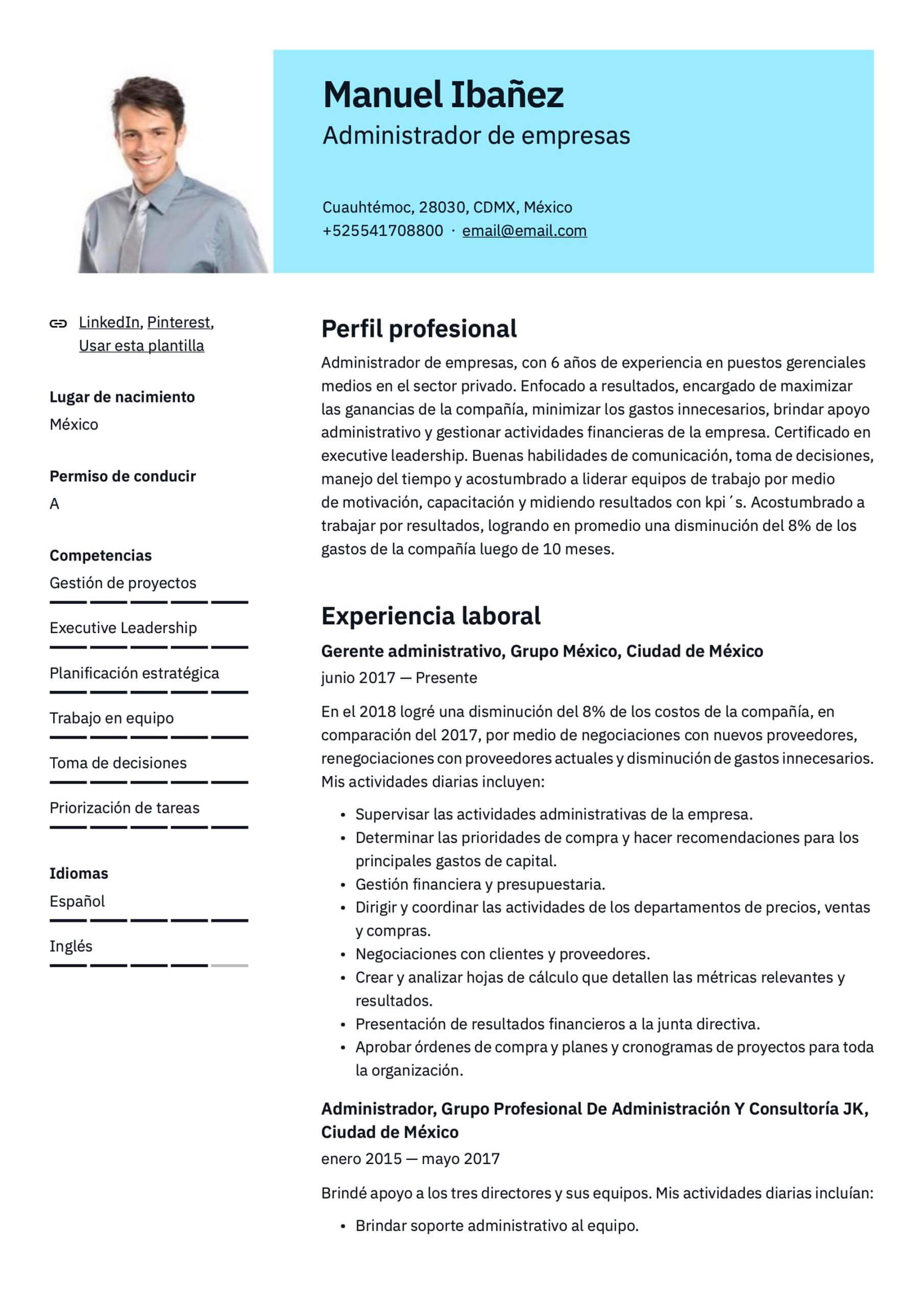 Plantilla de CV para Administrador de empresas