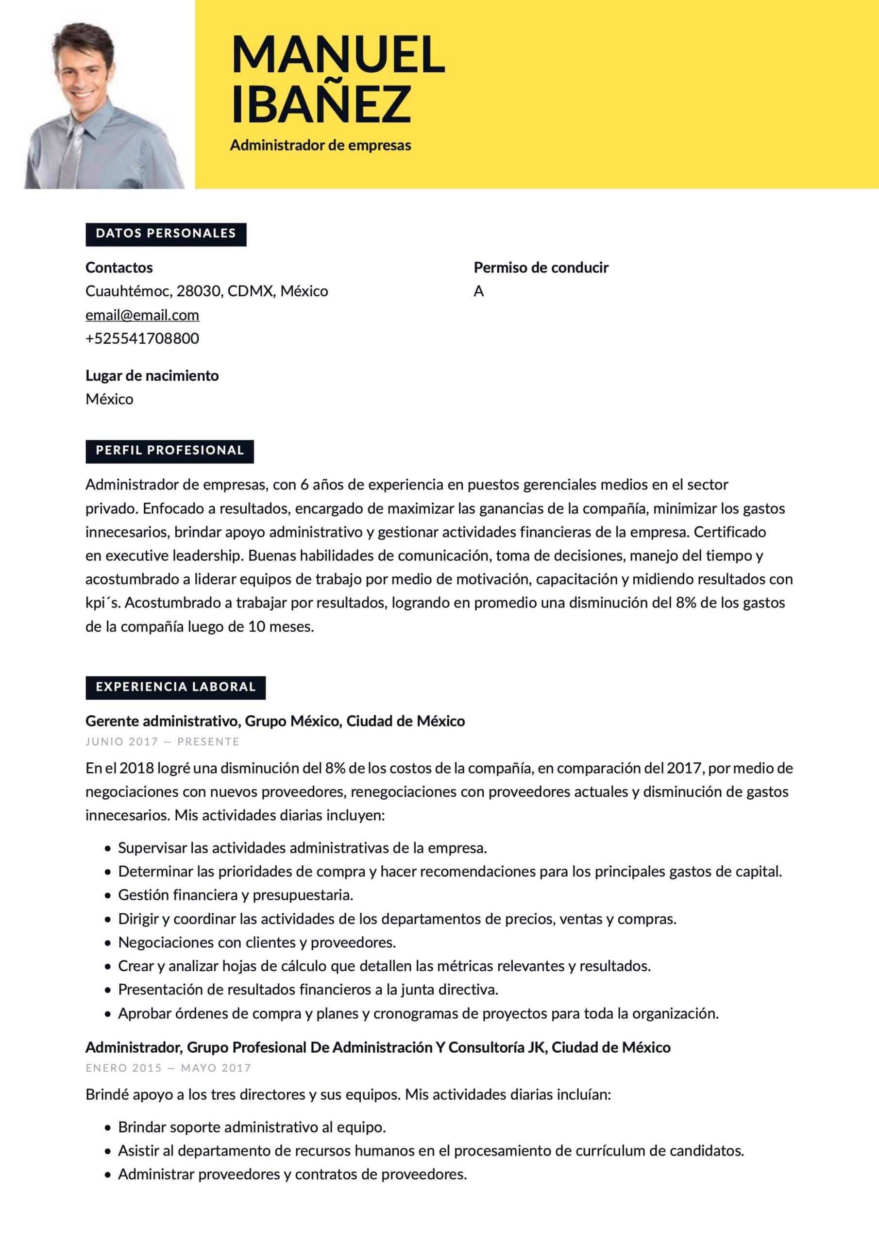 Currículum para Administrador de empresas
