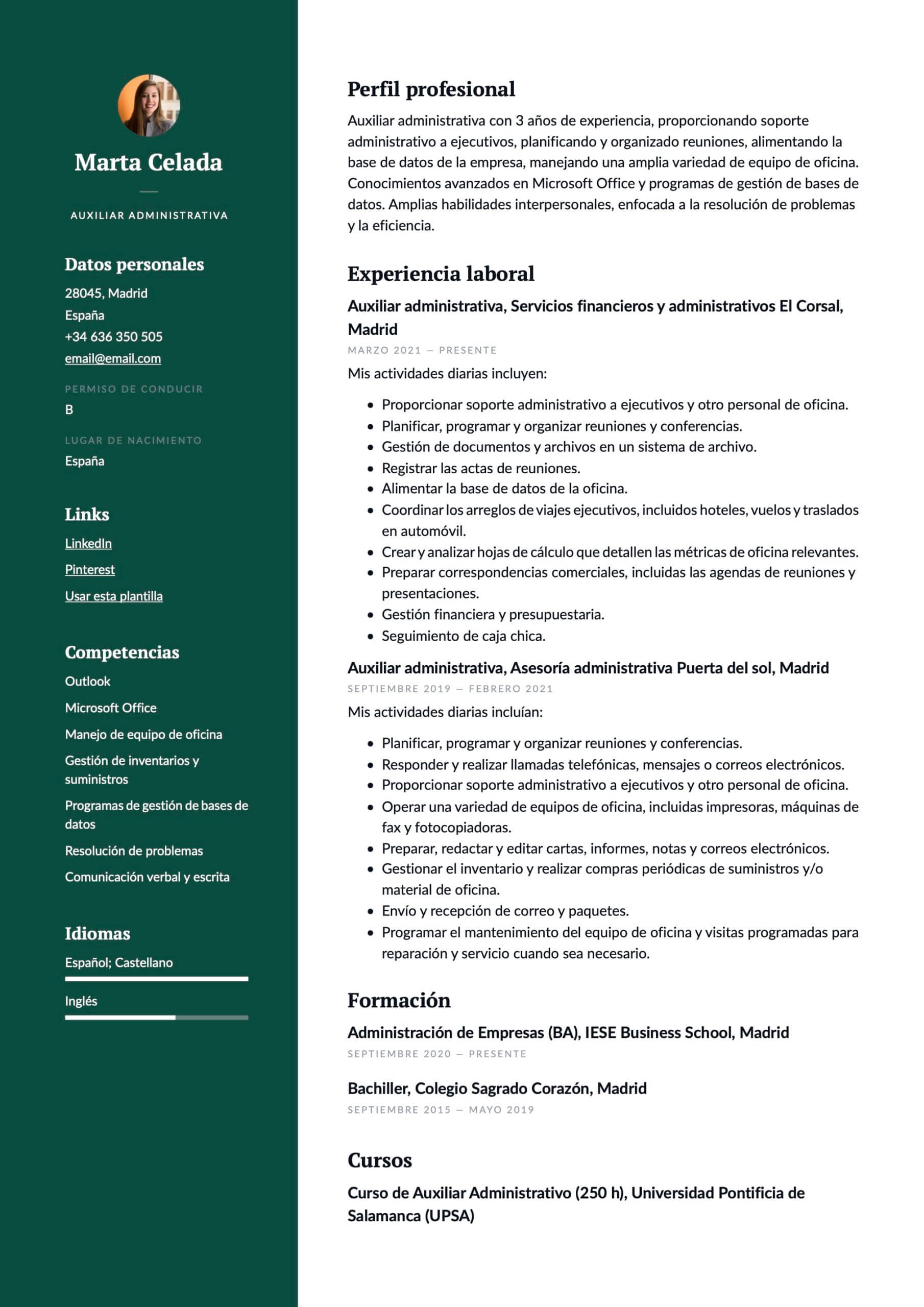 Ejemplo de CV para Auxiliar administrativo