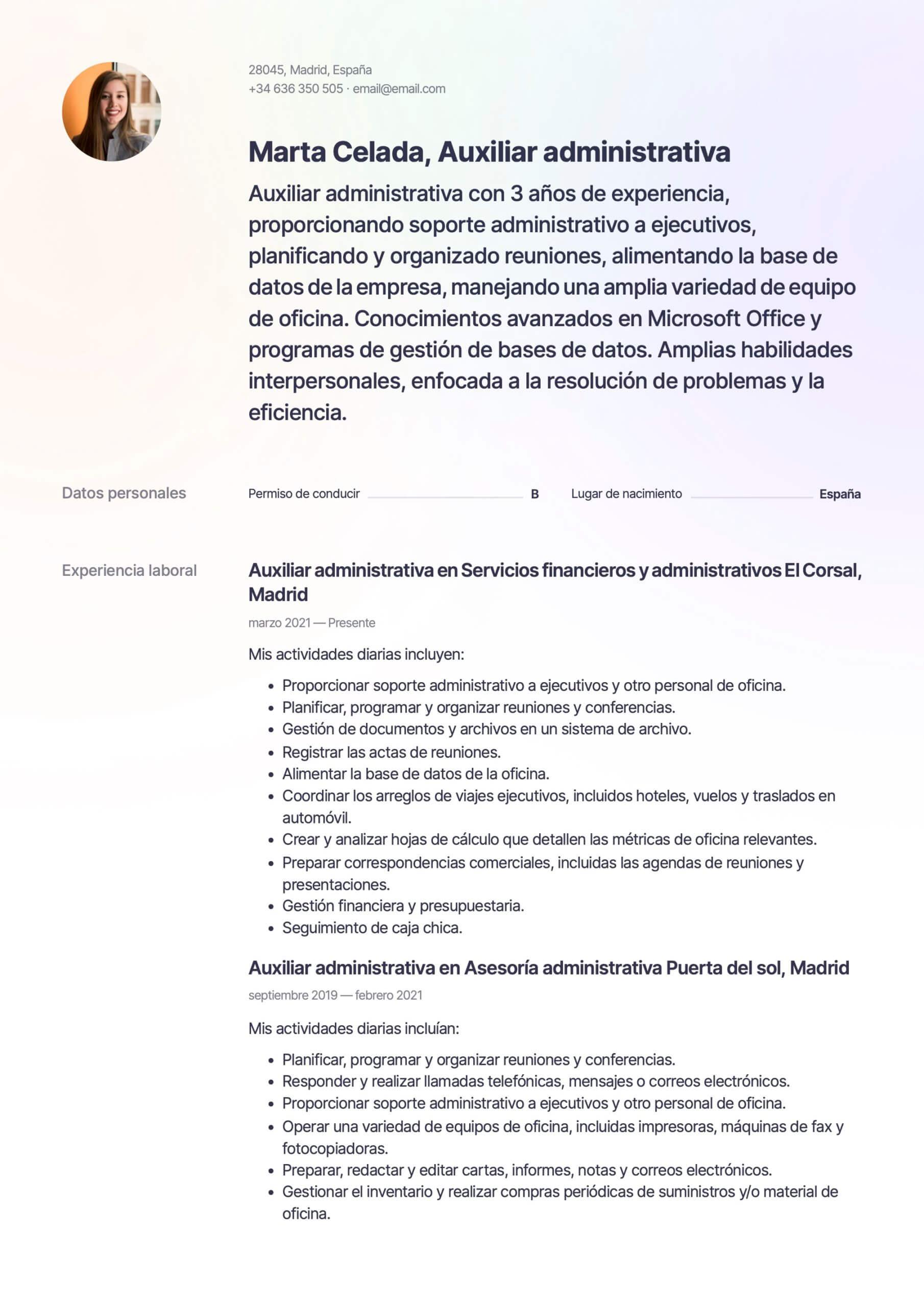 Plantilla de CV para Auxiliar administrativo