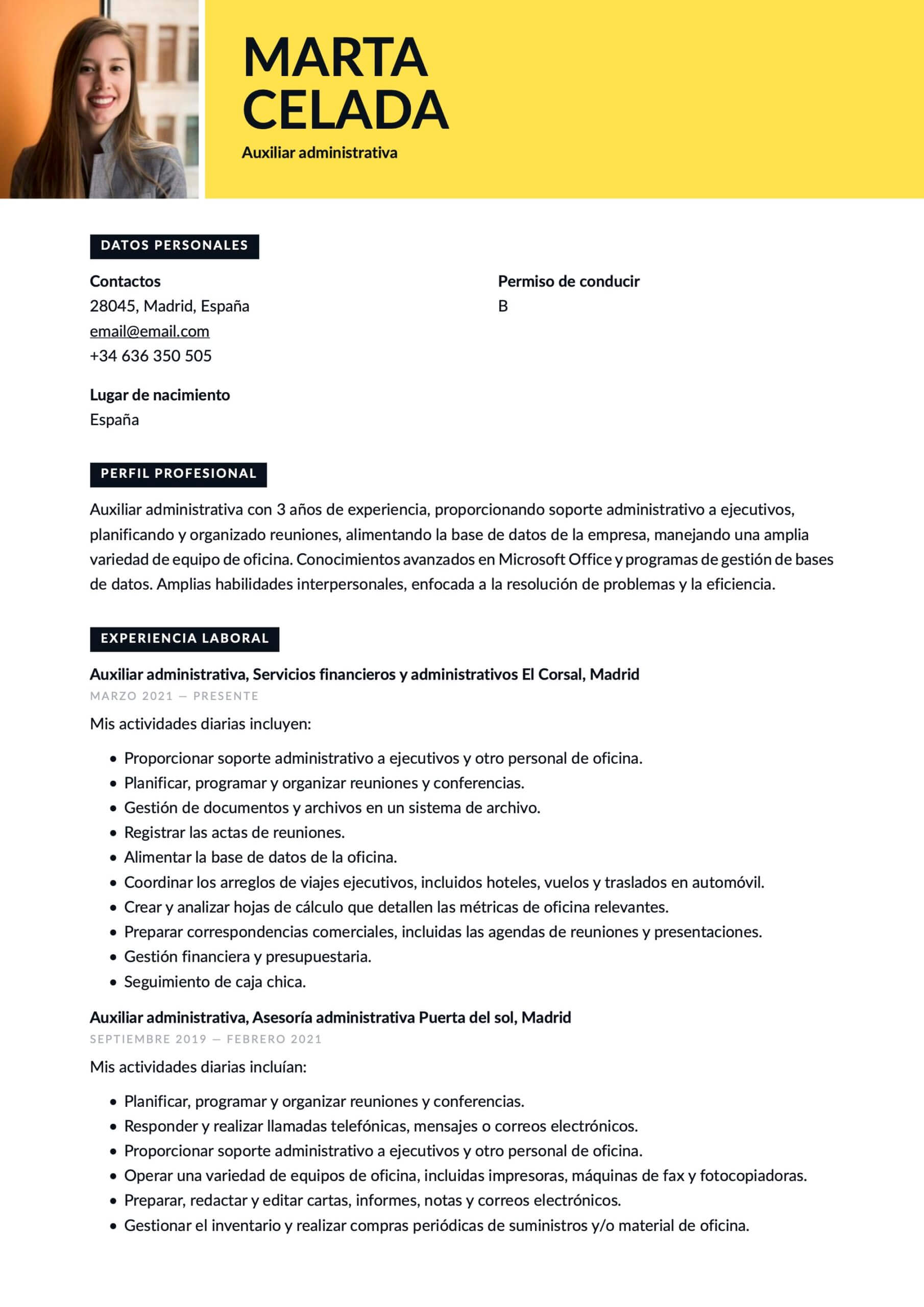 Currículum para Auxiliar administrativo