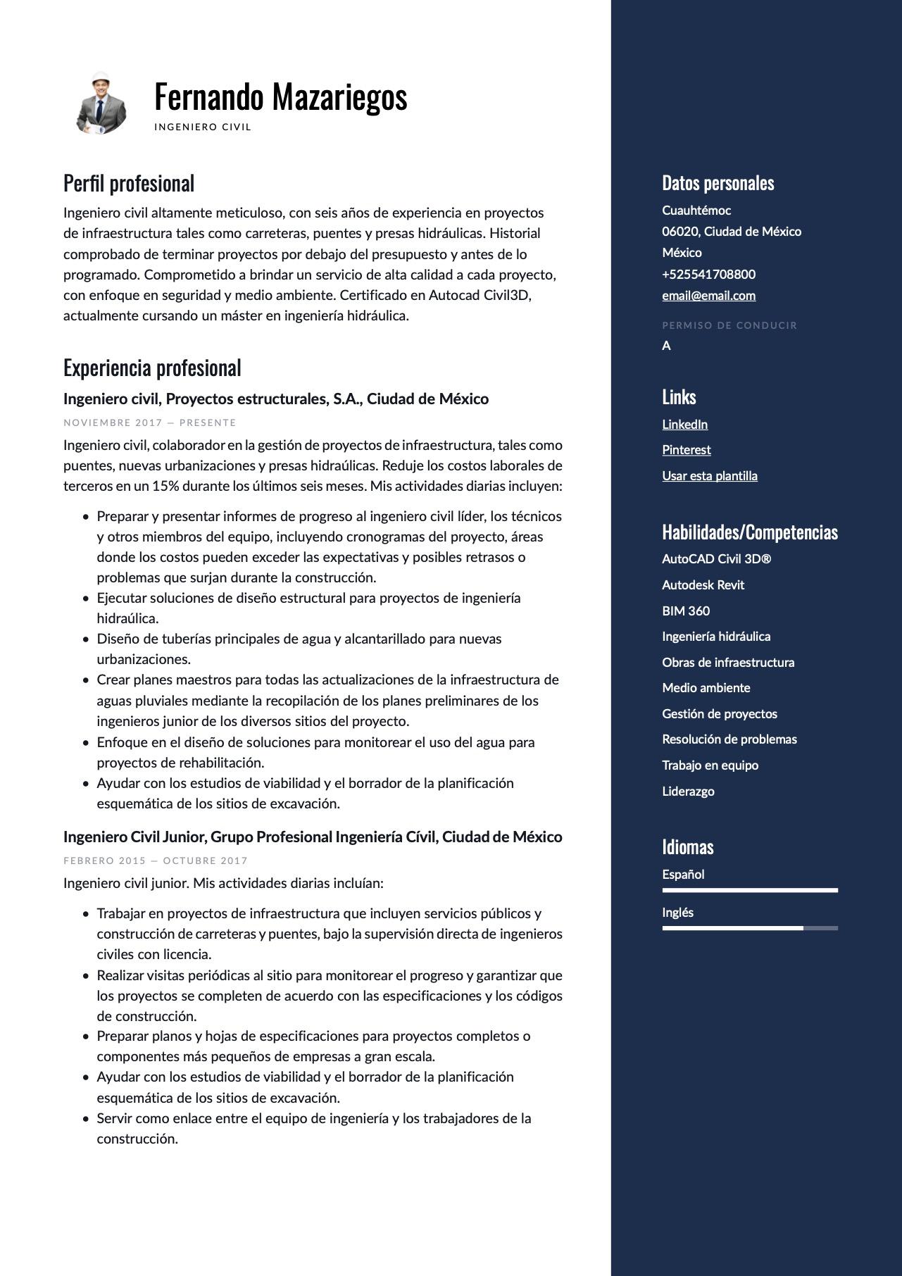 Modelo de CV para Ingeniero civil