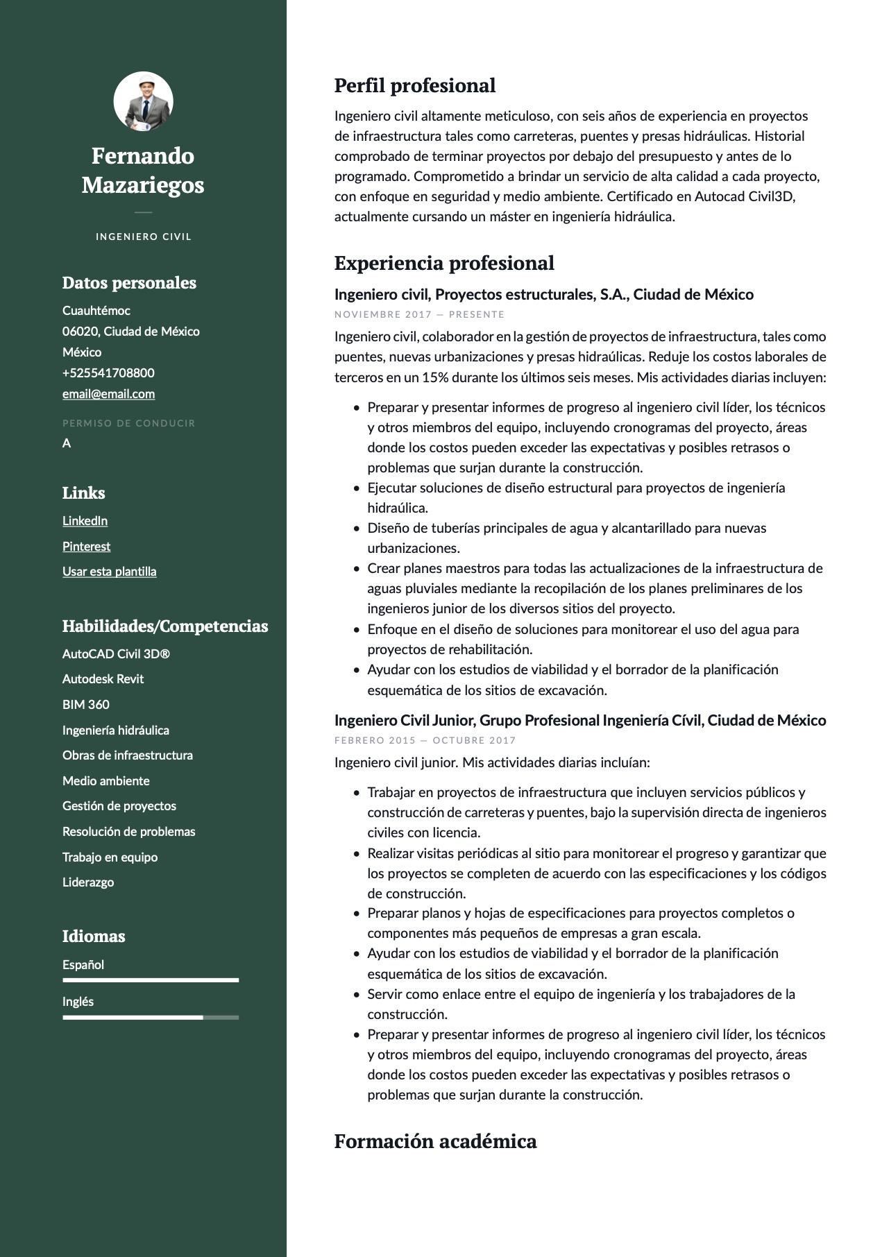 Ejemplo de CV para Ingeniero civil