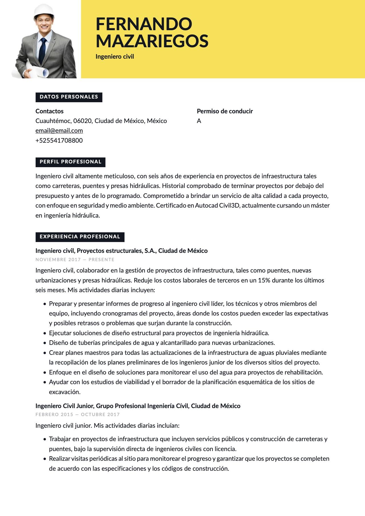 Currículum para Ingeniero civil