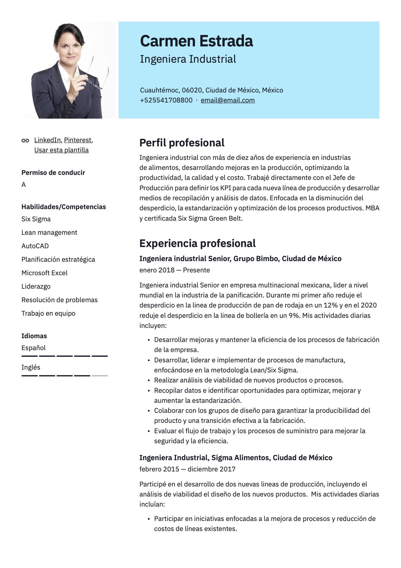 Plantilla de CV para Ingeniero industrial