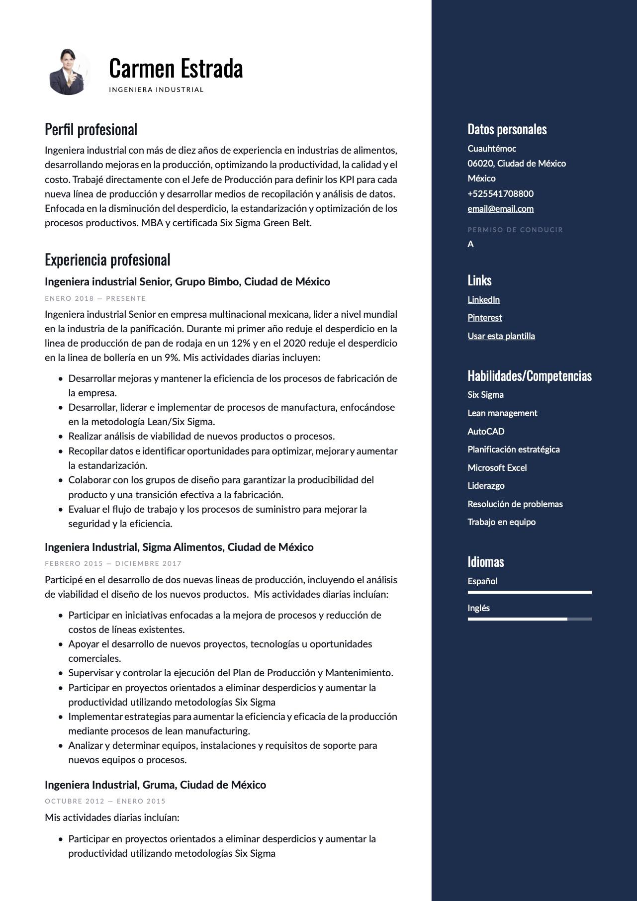 Modelo de CV para Ingeniero industrial