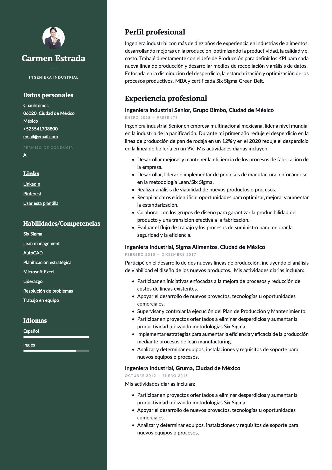 Ejemplo de CV para Ingeniero industrial