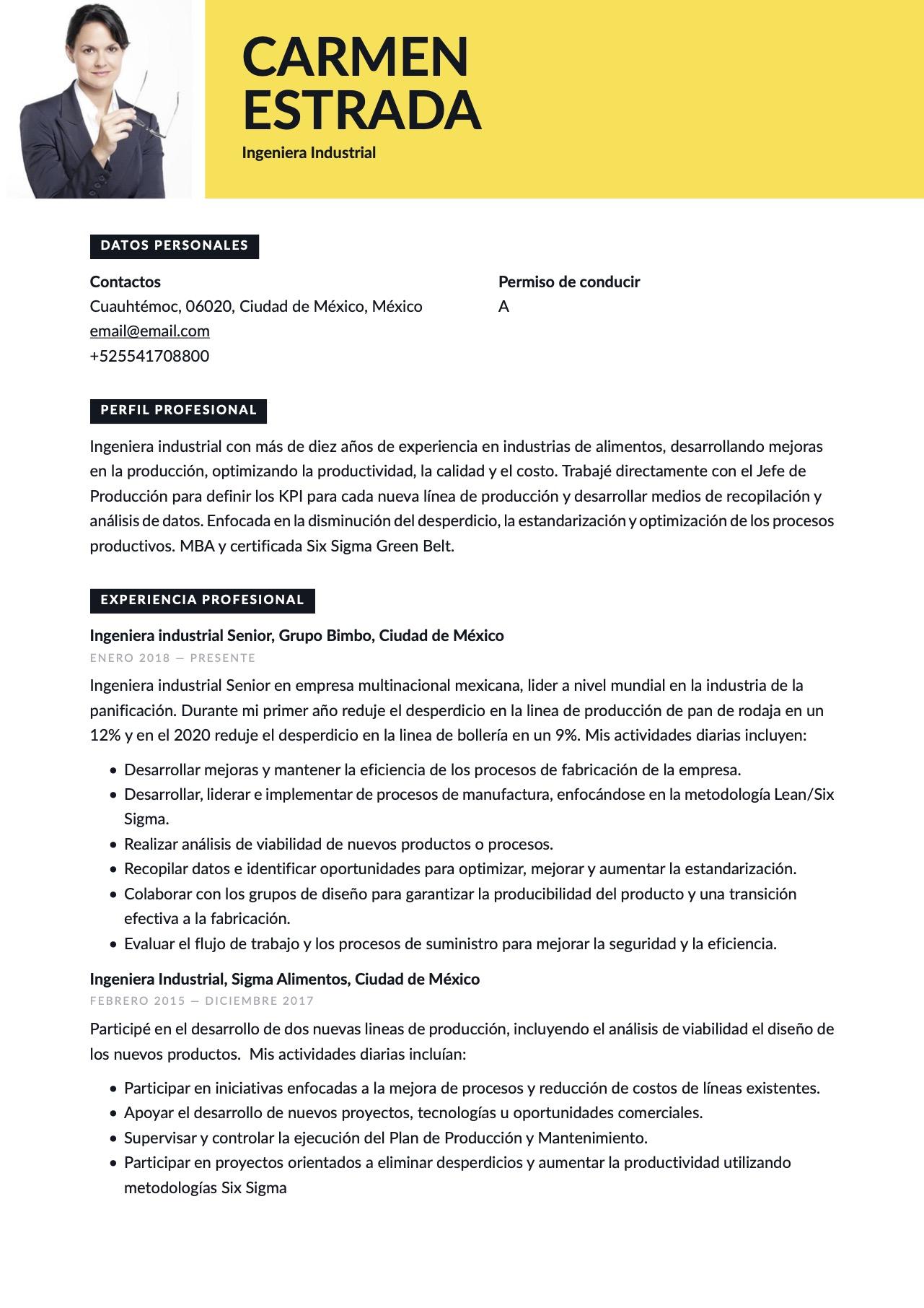 Currículum para Ingeniero industrial