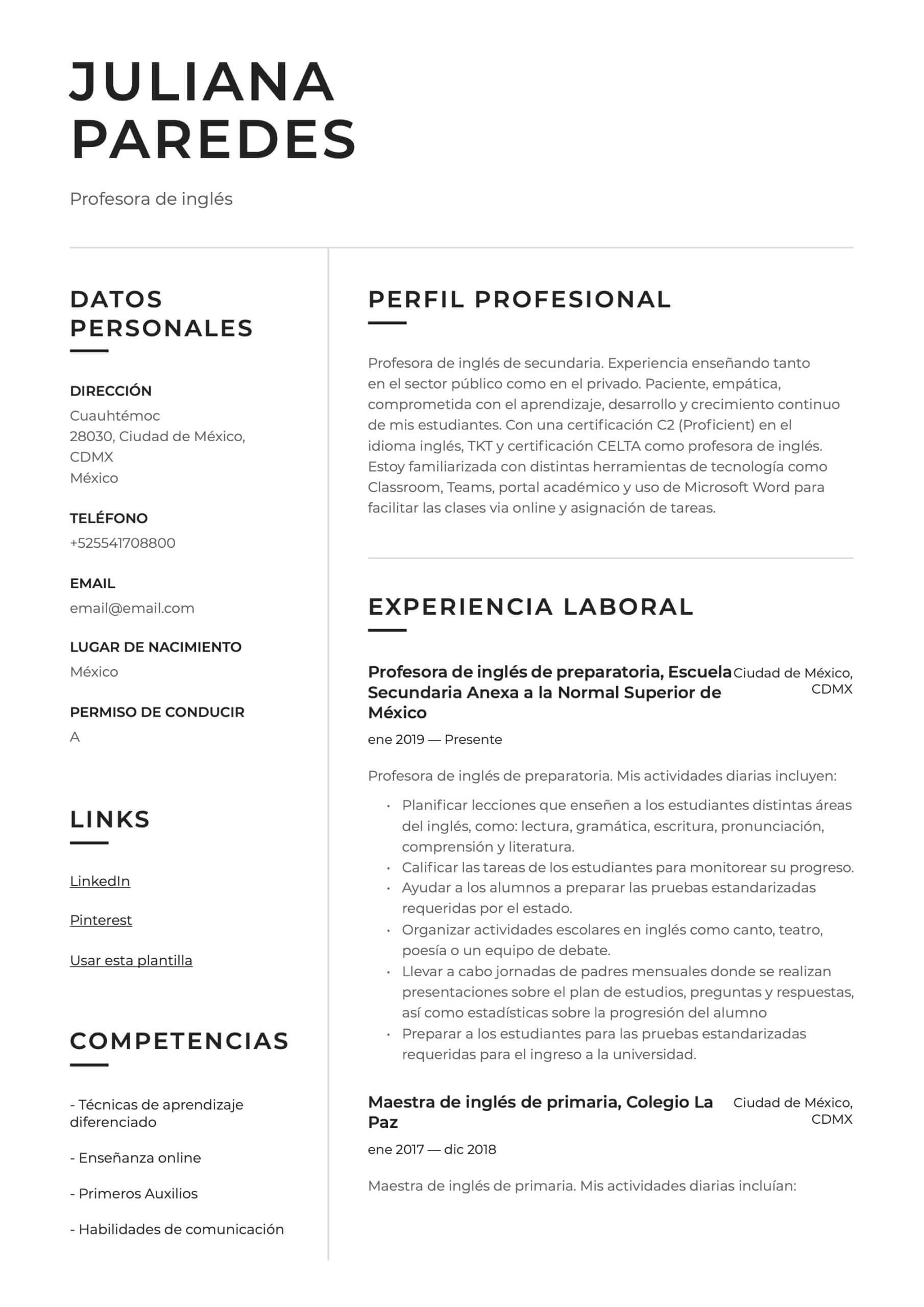 Ejemplo de CV para Profesor de inglés