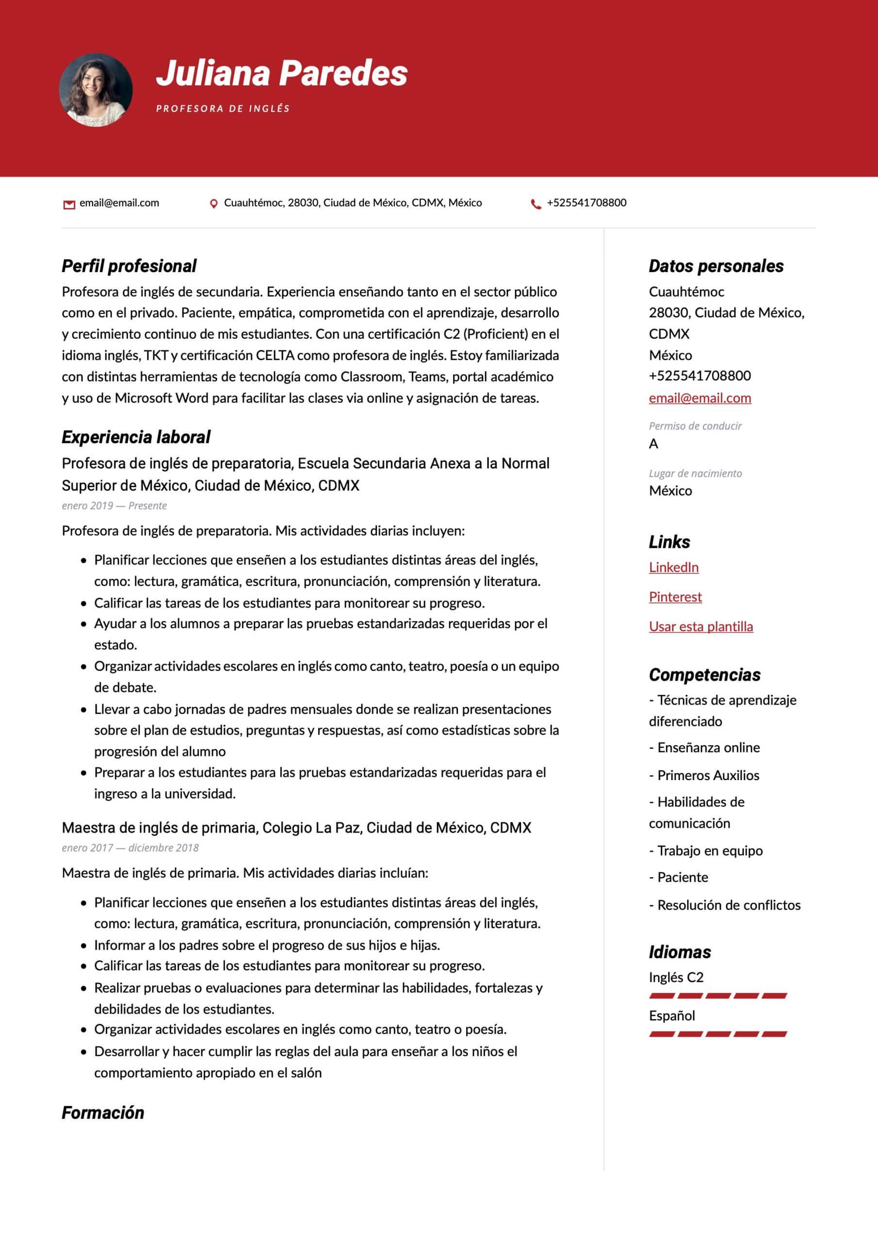 Modelo de CV para Profesor de inglés