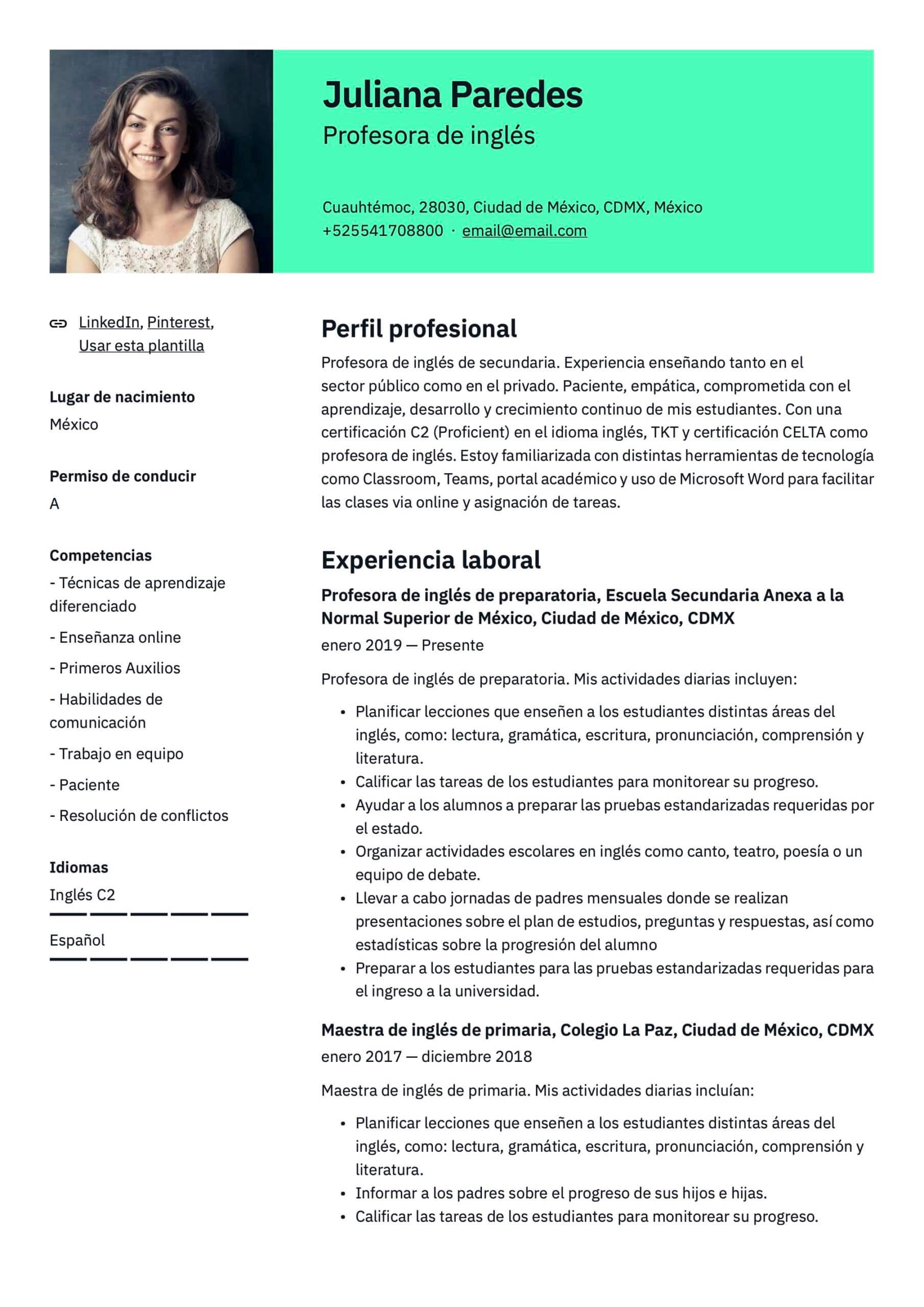 Plantilla de CV para Profesor de inglés
