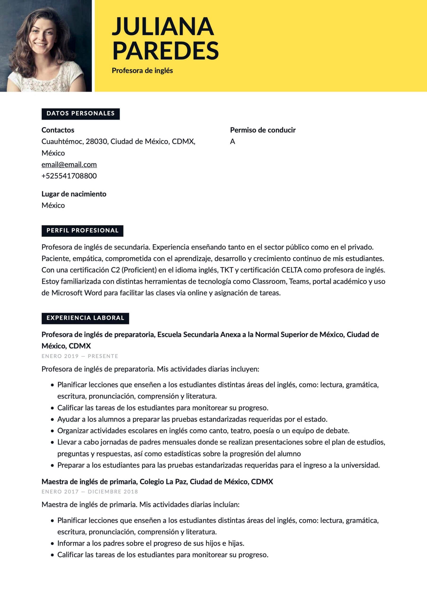 Currículum para Profesor de inglés