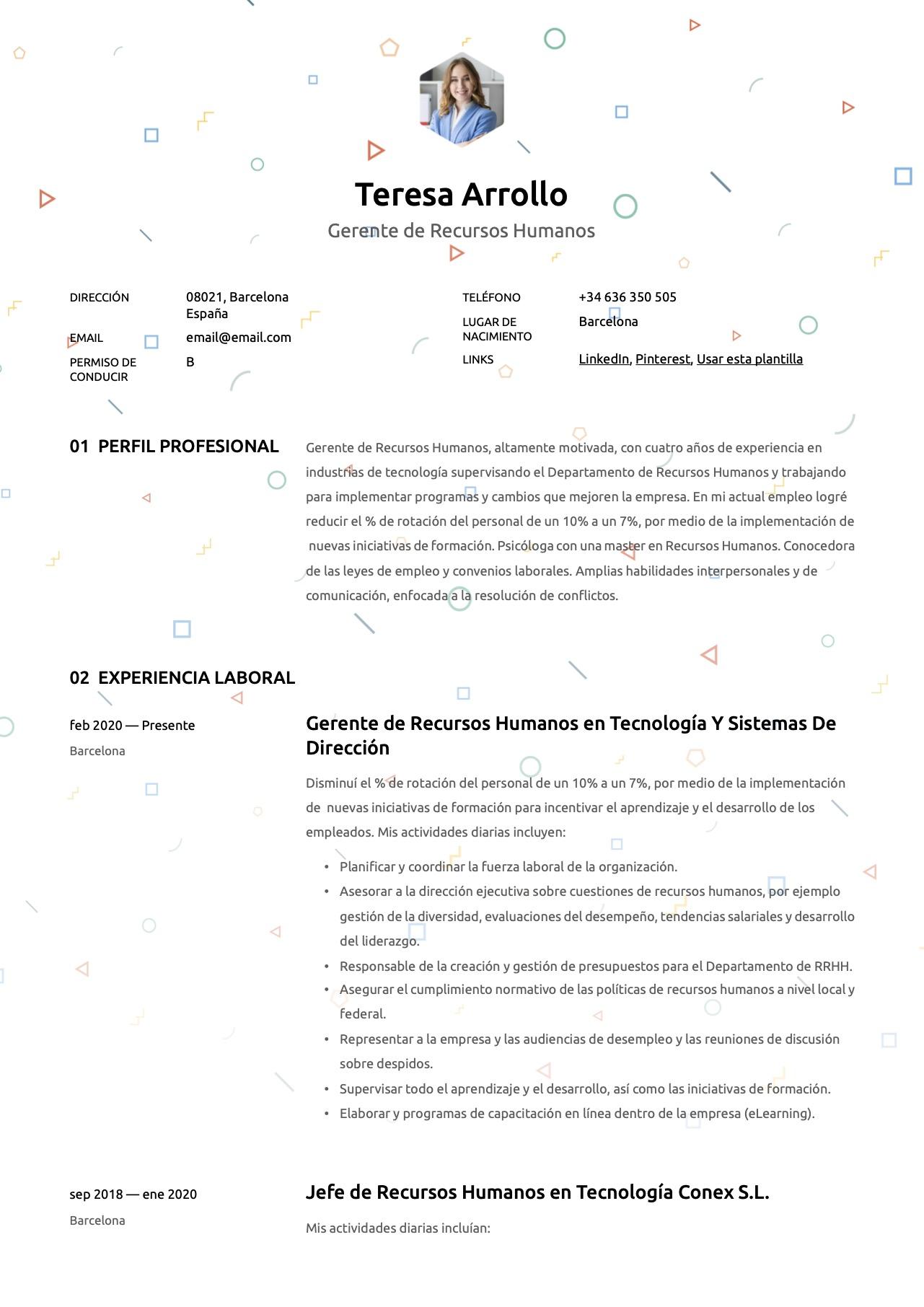Plantilla de CV para Recursos Humanos