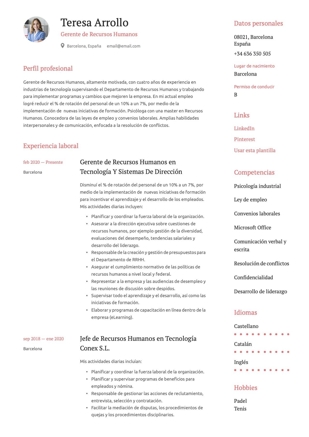 Ejemplo de CV para Recursos Humanos