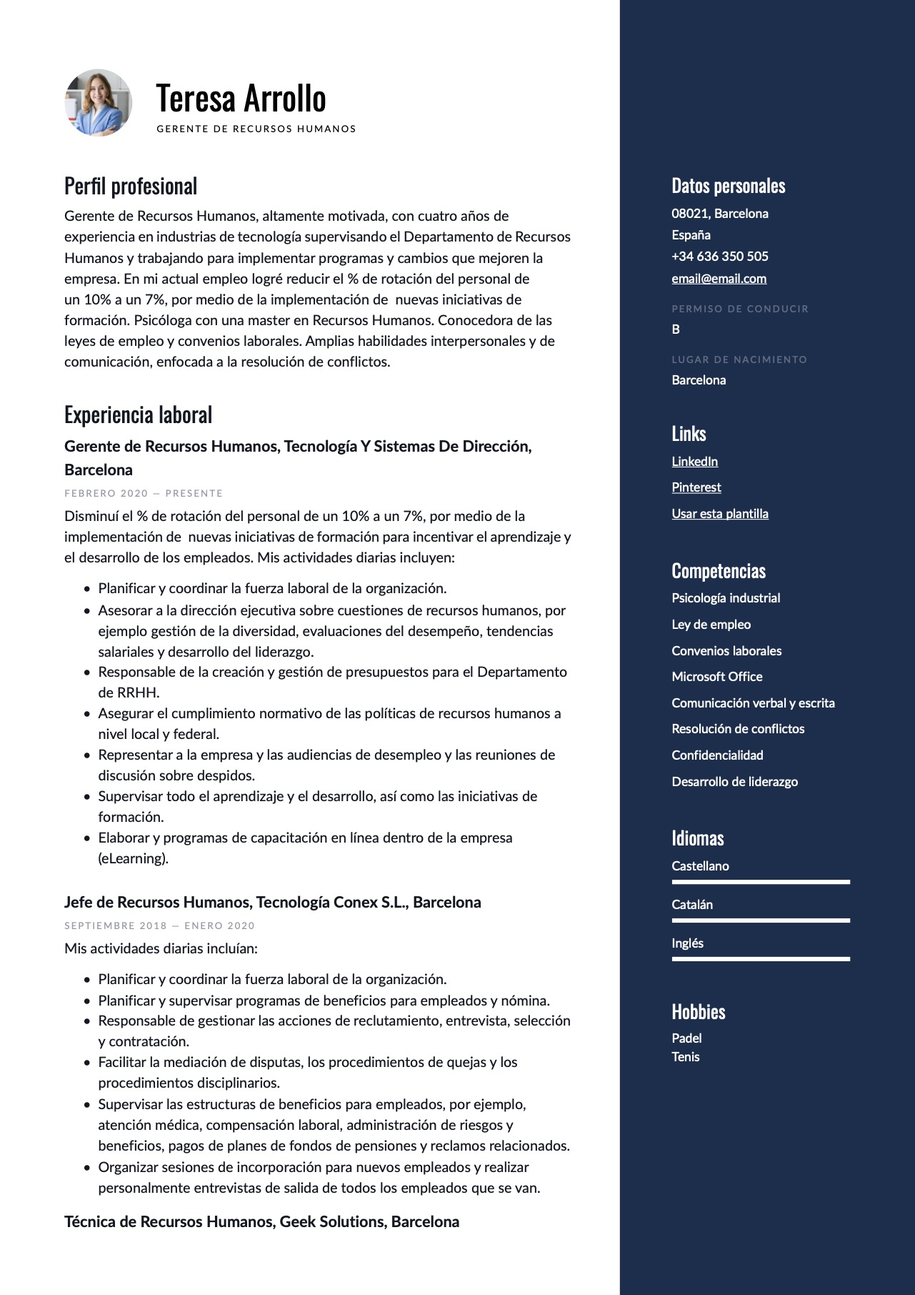 Modelo de CV para Recursos Humanos