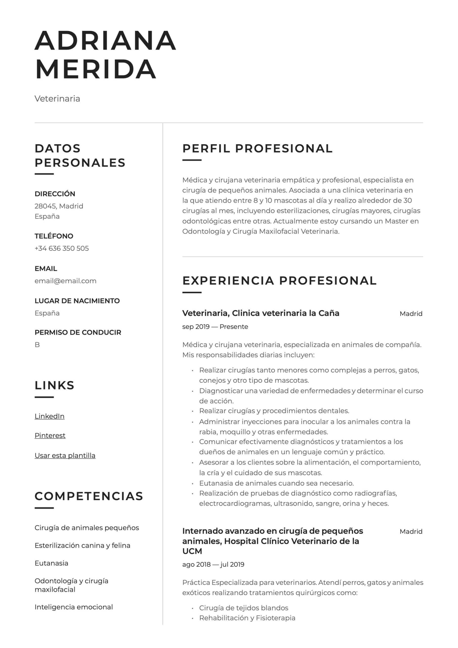 Ejemplo de CV para Veterinario