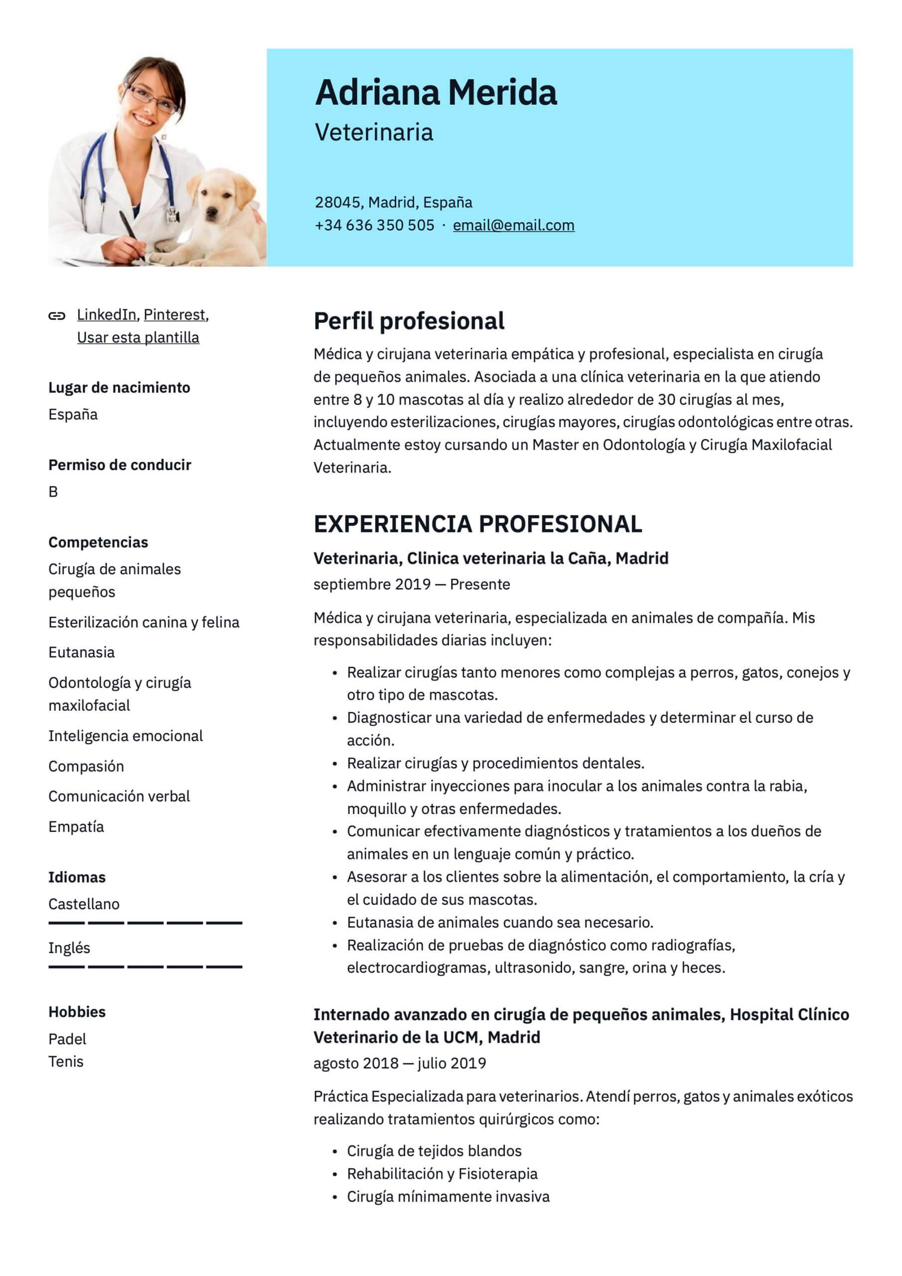 Plantilla de CV para Veterinario