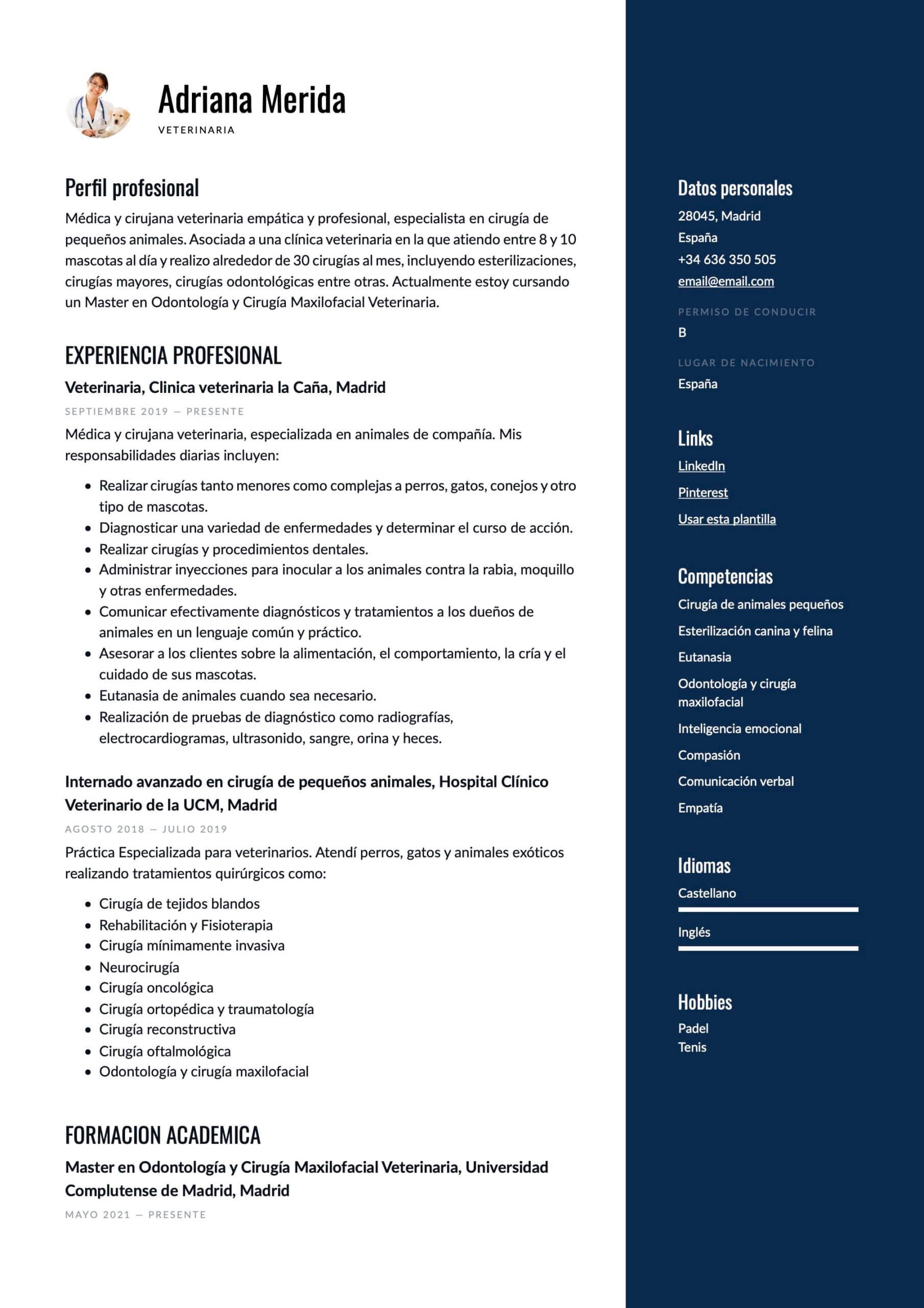 Modelo de CV para Veterinario