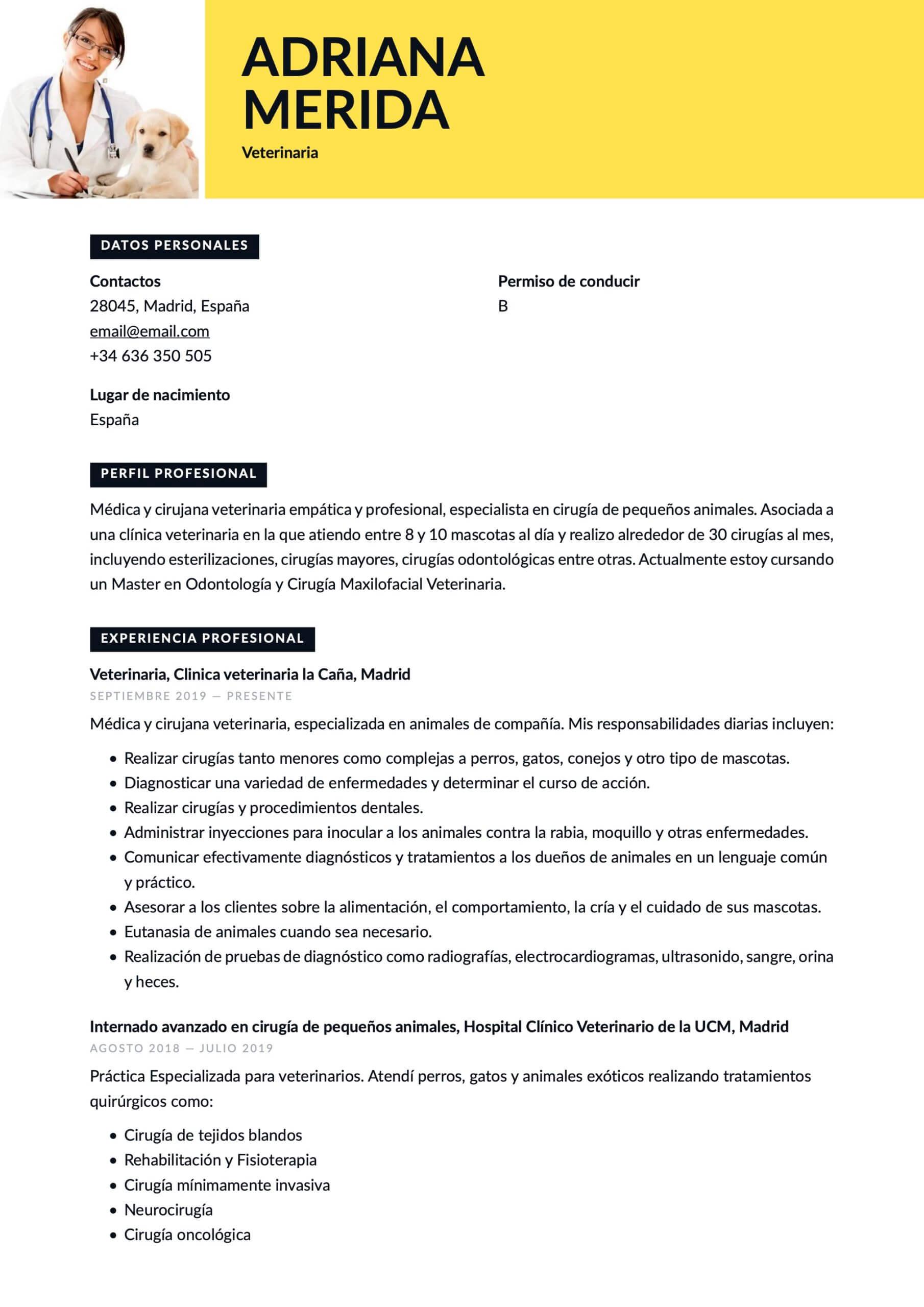 Currículum para Veterinario