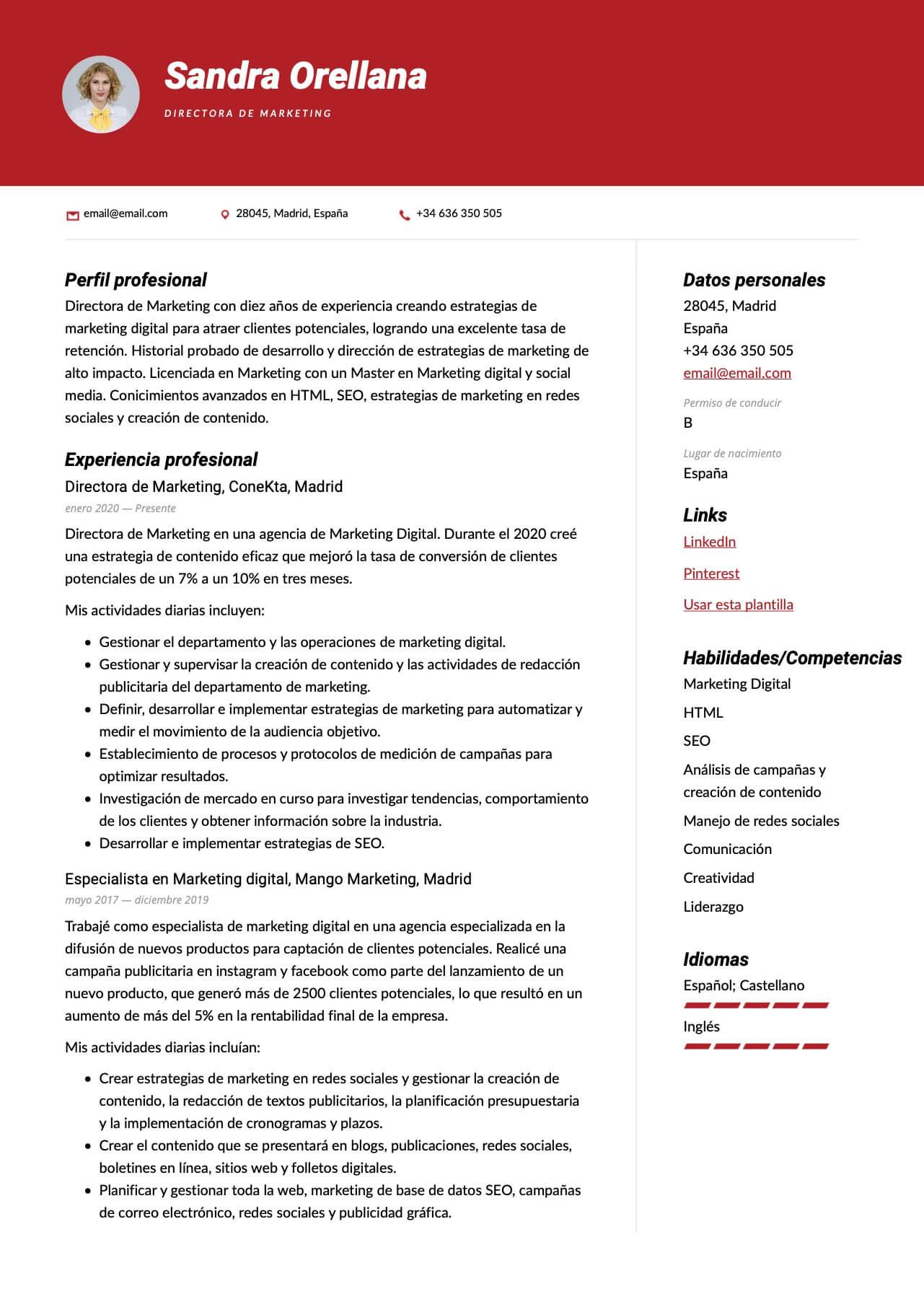 Modelo de CV para Director de marketing digital