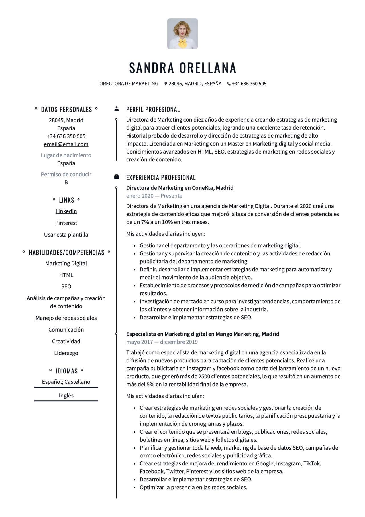 Ejemplo de CV para Director de marketing digital