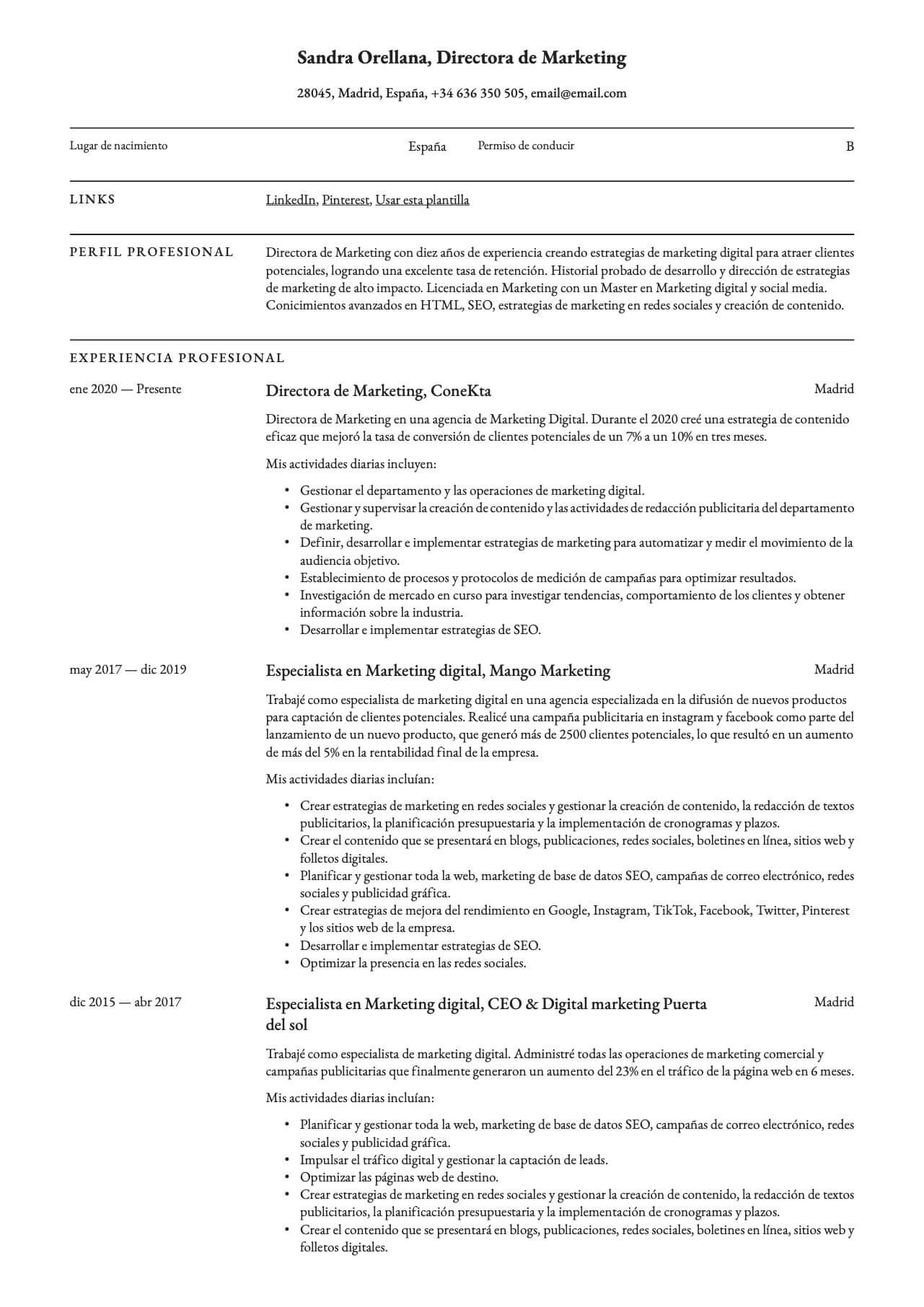 Currículum para Director de marketing digital