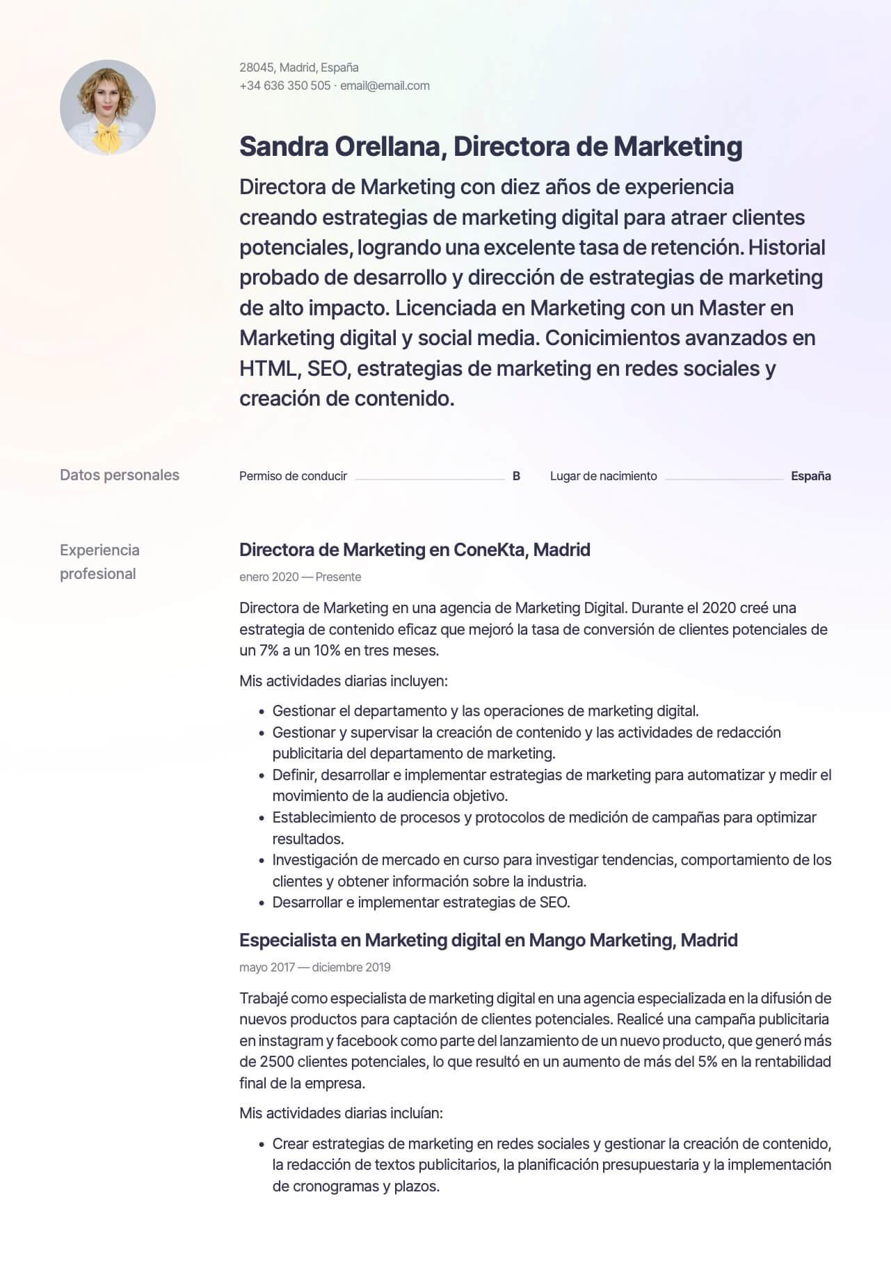 Plantilla de CV para Director de marketing digital